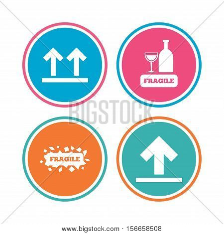 Fragile icons. Delicate package delivery signs. This side up arrows symbol. Colored circle buttons. Vector