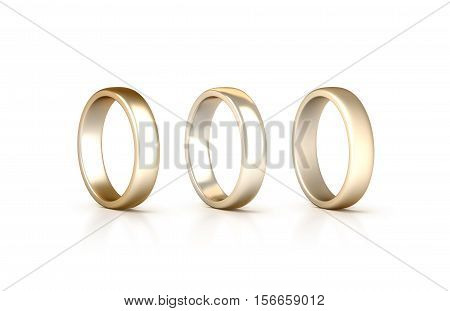 Gold rings set stand isolated matte and gloss jewelry clipping path 3d rendering. White golden wedding ciclet with micro scratches. Yellow satined gilt metal circles.