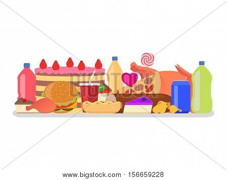 Vector illustration heap set of colorful food. Harmful to health snack. Drinks, sweets and fatty meal. Picture, drawing isolated on white background. Flat style. Junk nutrition.