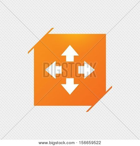 Fullscreen sign icon. Arrows symbol. Icon for App. Orange square label on pattern. Vector