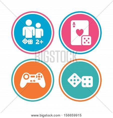 Gamer icons. Board games players signs. Video game joystick symbol. Casino playing card. Colored circle buttons. Vector