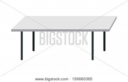 Empty kitchen table isolated on white background. Modern piece of furniture in the office interior. Wooden table. Empty workplace. Editable element for your design. Flat style. Vector illustration.