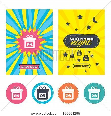 Sale banners, online shopping. Gift box sign icon. Present with video game joystick symbol. Shopping night. Vector