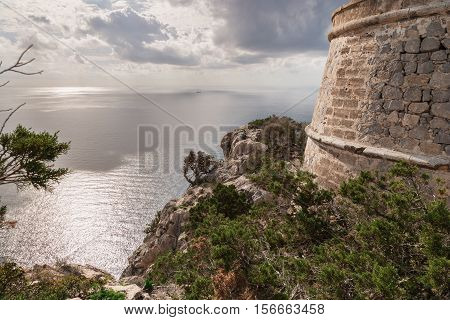 Looking out over the Mediterranean sea from the pirate watchtower