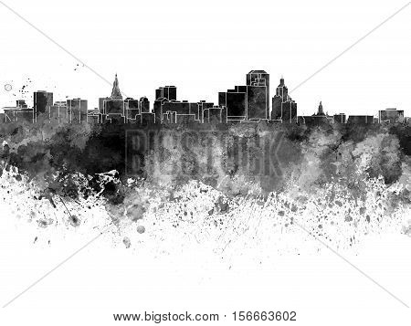 Hartford Skyline In Black Watercolor On White Background