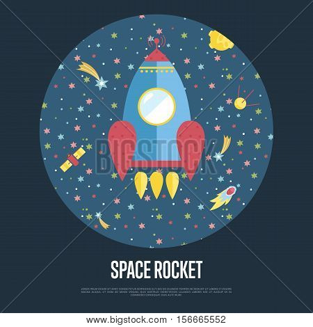 Space rocket cartoon banner. Spaceship flying in outer space among stars, comets, satellites vector illustration on blue background. For planetarium, astronomical club, childrens cafe