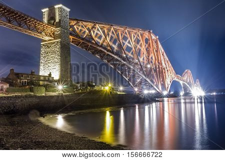 Night over the Forth Road Bridge in Scotland