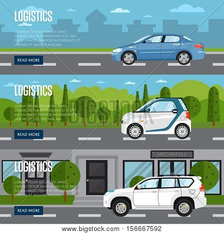 Logistics horizontal flyers with citycar on road in city vector illustration. Transportation and city traffic. Shipping, road delivery, logistics service in business. Urban cityscape background.