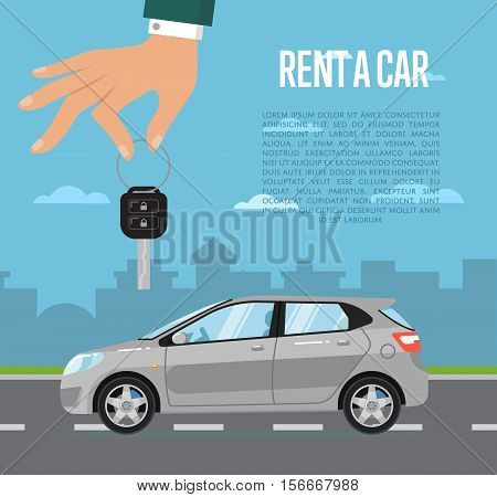 Rent a car concept with universal citycar and hand holding auto key vector illustration. Urban cityscape background. Automobile rental business. Test drive. Selling, leasing or renting car service