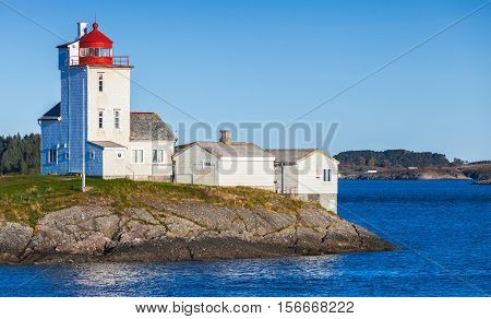 Lighthouse, White Tower With Red Top. Norway
