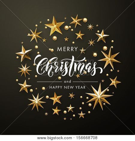 Merry Christmas, Happy New Year greeting card of gold glitter stars. Vector wreath of stars of golden foil glittering gilding. Round Christmas ornament decorations. Vector calligraphy lettering