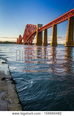 The Forth Road Bridge at sunset in Scotland