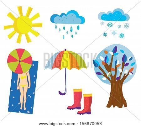 Weather icons and objects set cartoons - vector graphic illustration