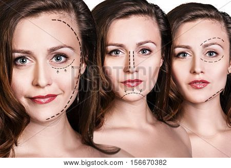 Collage of three female face with lifting arrows isolated on white background