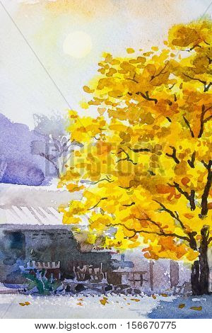Painting landscape watercolor original colorful of golden tree leafs with wooden house and sky background