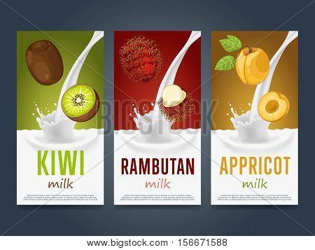 Milkshake concept with milk splash and fruit vector illustration. Milk dessert, yogurt, fruit mix, cocktail drink, fruit smoothie with kiwi, rambutan, apricot packaging design template. Dairy product.