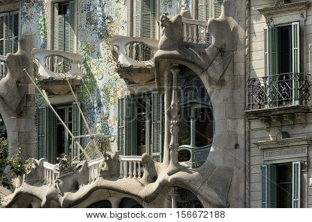 BARCELONA, SPAIN - JULY 12, 2016: Barcelona (Catalunya Spain): artistic buildings along the Passeig de Gracia