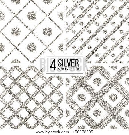 Set of silver seamless pattern of diagonal stripes and circle, seamless background of silvern glitter cage and lines, hand drawn vector pattern for invitation, card, wedding, paper, web