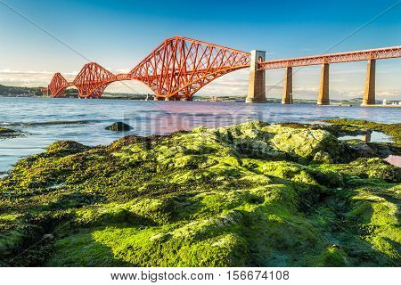 Coast At Low Tide Near The Firth Of Forth Bridge In Scotland