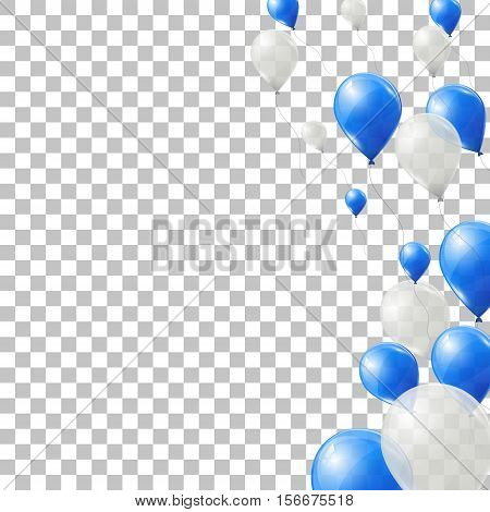 Blue and white helium balloons on transparent background. Flying latex ballons. Vector illustration. poster
