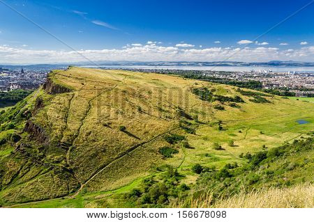 View Of Edinburgh From The Top Of Arthur Seats