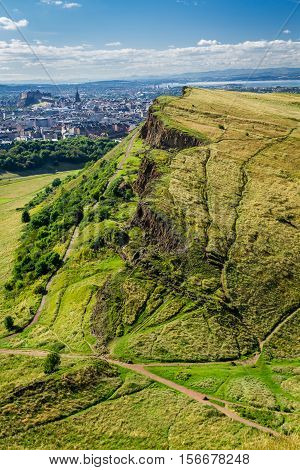 View Of Sunny Edinburgh From The Top Of Arthur Seats