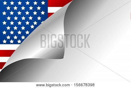 USA Country Flag Turning Page illustration art