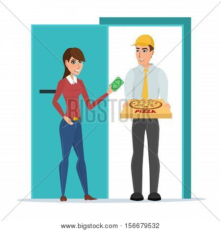 Pizza delivery boy handing pizza box to a beautiful girl at her home. Vector illustration isolated on white background in flat style. Woman giving money for her order.