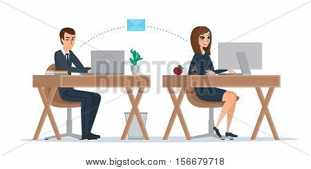 Man and woman at computer monitor. Office correspondence, employees to correspond by mail. Business concept. Vector illustration isolated on white background in flat style.
