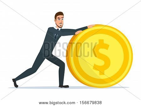 Time for invest, man with gold coin. Time investmen concept, finance and money, investor and stock market, business man invest gold, old gold money, banking treasure, roll dollar invest illustration