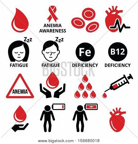 Blood, anemia, human health icons set on white