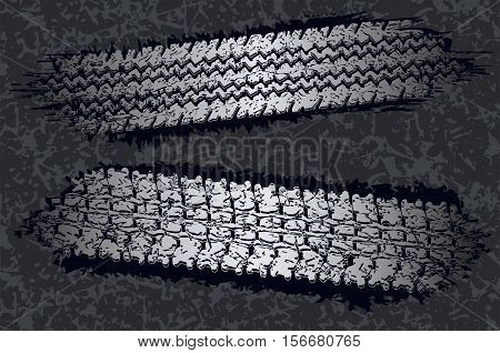 Abstract tire tracks textures of transport vector illustration. Template for car race design in grunge style.