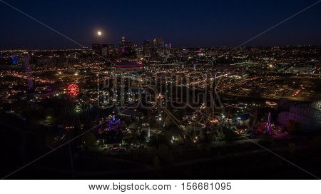 Aerial view of downtown denver from Platt River at night.