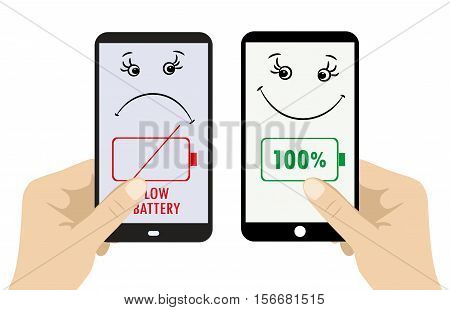 Two smart phone in hands. One sad - discharged the second fun - with a full charge. vector illustration on white background