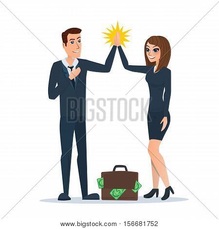 Businessman and woman clapping hands each other in partnership, supportive, cheerful, successful or corporation. Business cartoon. Vector illustration isolated on white background in flat style.