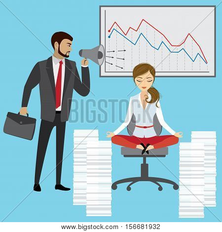 Boss with megaphone yelling at the woman manager or office worker business stress concept vector illustration