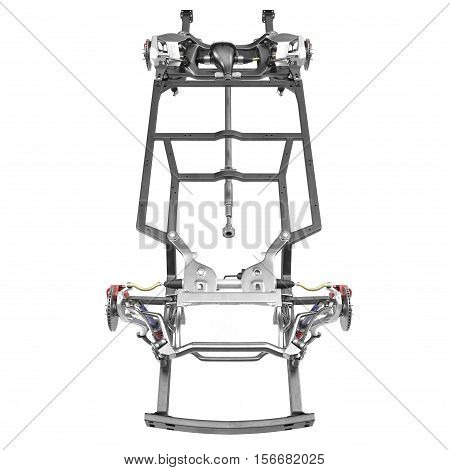 Car Chassis on white background. Front view. 3D illustration