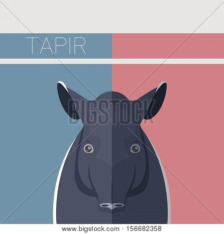 Vector image of the Flat postcard with Tapir