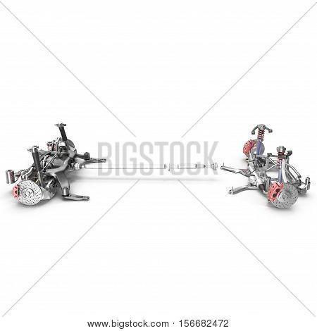 Render of car chassis without engine isolated on white background. Side view. 3D illustration
