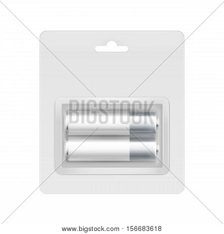 Vector White Gray Silver Glossy Alkaline AA Batteries in Transparent Blister Packed for branding Close up Isolated on White Background
