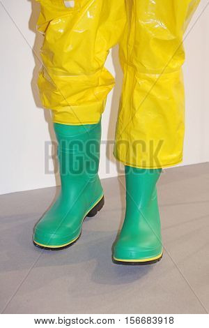 Rubber boots and trousers used in fishing industry