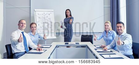business, people and teamwork concept - group of smiling businesspeople meeting and showing thumbs up in office