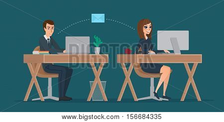 Man and woman at computer monitor. Office correspondence, employees to correspond by mail. Business concept. Vector creative color illustrations flat design in flat modern style.