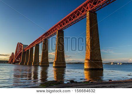 Steel Railway Bridge Over The River In Scotland