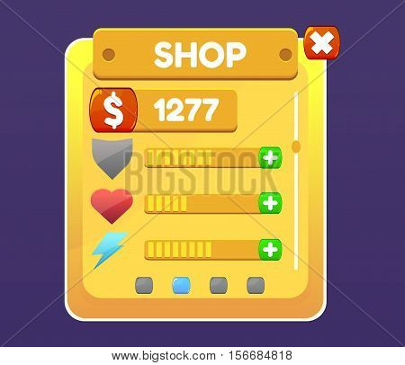 Mobile Game Ui Pop Up Screen. Vector illustration for your design
