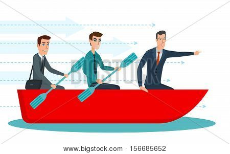 Businessmen workers rowing oars in boat and manager with. Team Management. Business cartoon concept. Vector illustration isolated on white background in flat style.