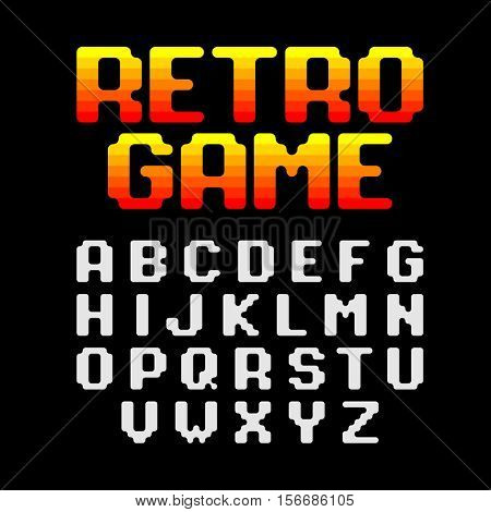 Retro style video game pixel font vector illustration