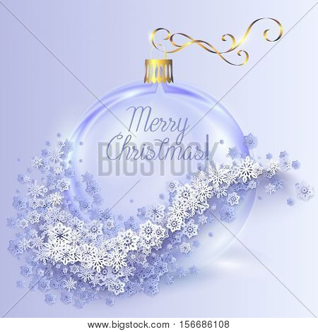 Realistic transparent blue Christmas ball with snowflakes on light background. Vector abstract illustration