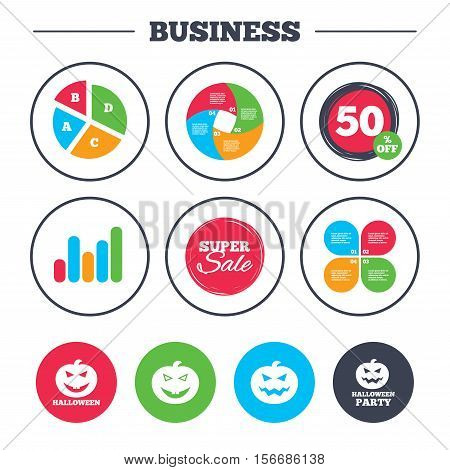 Business pie chart. Growth graph. Halloween pumpkin icons. Halloween party sign symbol. All Hallows Day celebration. Super sale and discount buttons. Vector