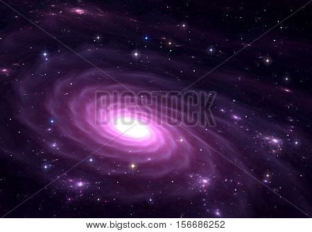 Purple galaxy. Space background with purple galaxy and stars